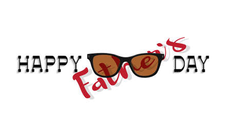 Happy fathers day card. Lettering and sunglasses on white background. Editale vector template for design