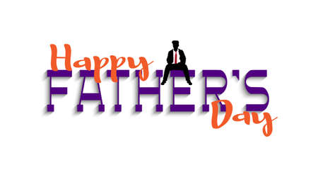 Happy Fathers Day handwriting lettering with silhouette sitting man. Editable vector template for design card,flyer, banner or poster Illustration