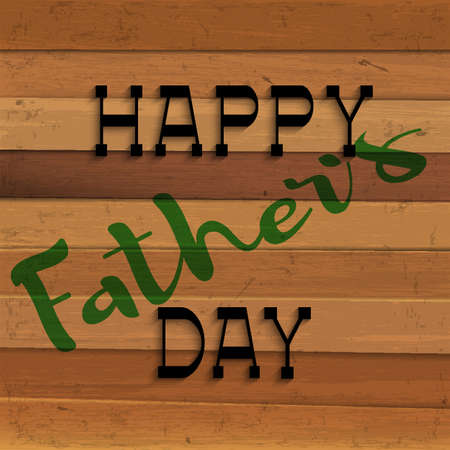 painting: Happy fathers day handwritting lettering on wooden background. Editale vector template for design