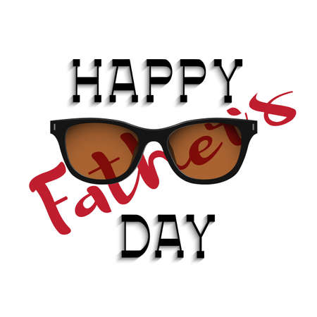 happy people: Happy fathers day handwritting lettering with sunglasses. Editale vector template for design  Illustration