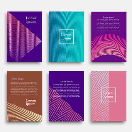 Set of creative cover design with geometric line shapes.Minimal style. Vector template for banners, flyers,  cards, posters Ilustração