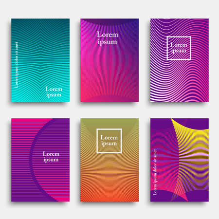 minimalistic: Set of trendy cover design with geometric line shapes.Minimal style. Vector template for banners, flyers,  cards, posters