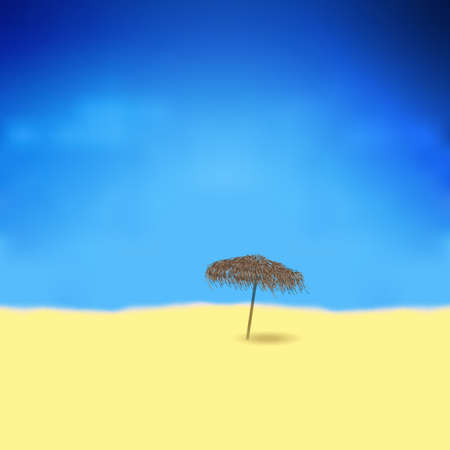 tranquil scene: Tropical beach with bamboo umbrella. Vector illustration gradient mesh Illustration