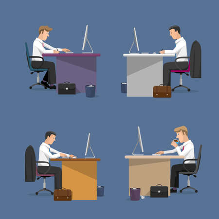 Vector set of managers in office in flat style. Concept of office life. Cartoon flat style character Illustration