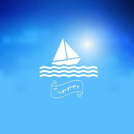 waves: Blue poster with sailboat and lettering summer on banner . Editable vector template for design card,flyer, banner Illustration