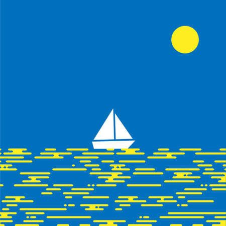 deportes nauticos: Flat design vector sea landscape illustration with sailing boat,waves and sun. Minimal style summer vacation,holidays concept Vectores