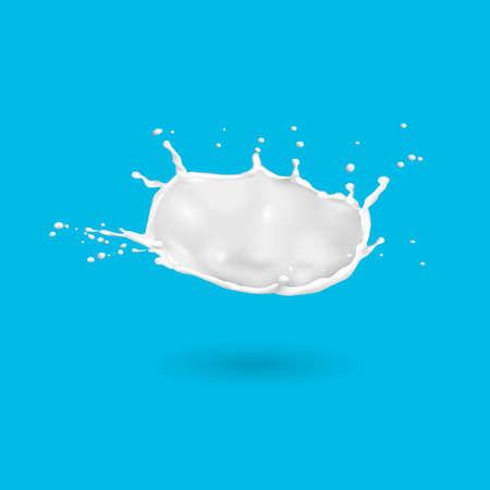 Fresh milk splash isolated on blue background. Vector 3d design element