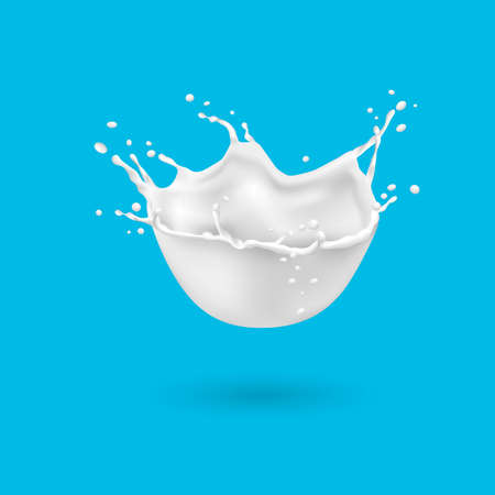 Realistic splashes of milk isolated on blue background. Vector 3d design element Illustration