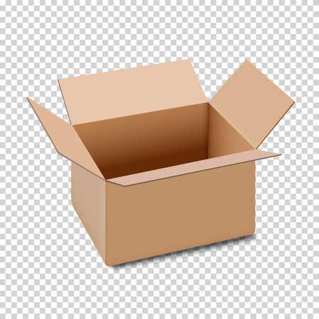 Icône de boîte en carton ouverte, isolée sur fond transparent. Illustration vectorielle-stock