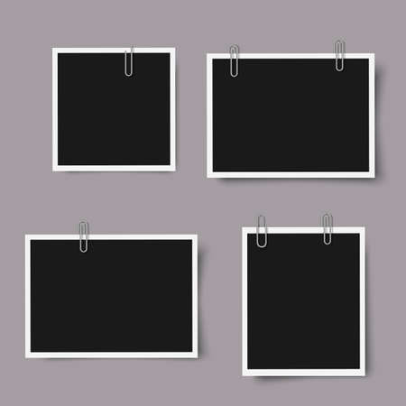 layout: Set of realistic photo frames with shadows. Isolated on grey background,empty photography template. Mock up vector illustration Illustration