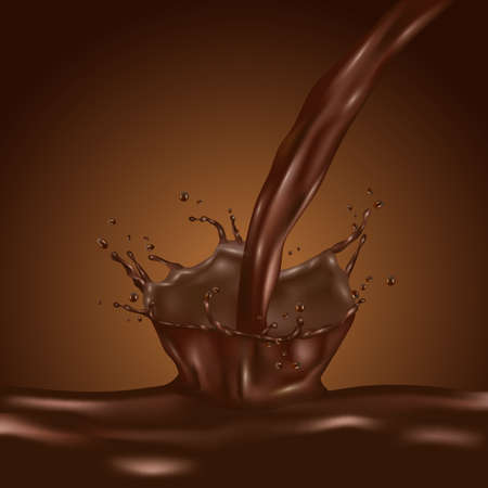3d brown splashing chocolate liquid chocolate. Realistic vector illustration Illustration