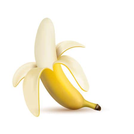 3d vector half peeled banana isolated on a white background. Banana isolated vector illustration, banana icon