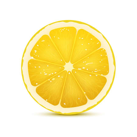 Realistic vector illustration of lemon slice. Bright juicy slice of fruit isolated on white background Illustration