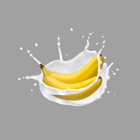 Banana and milk splash,vector 3d icon. Realistic vector illustration