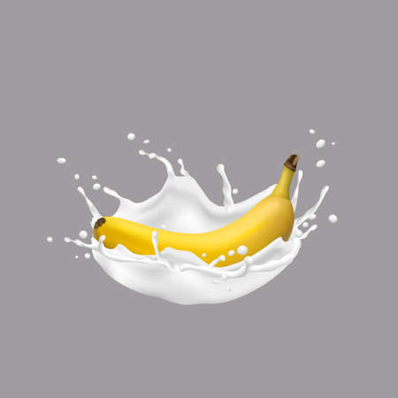 3d Banana and milk splash. Realistic vector illustration,vector icon