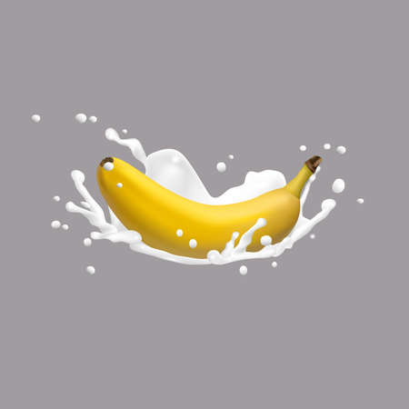 Banana and milk splash, 3d vector icon. Realistic vector illustration