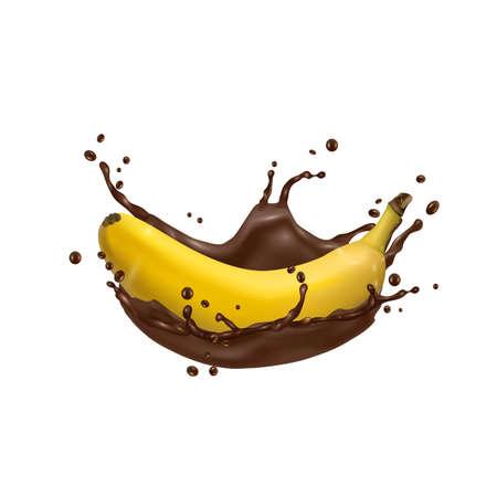 3d Banana and chocolate splash, vector icon. Realistic vector illustration