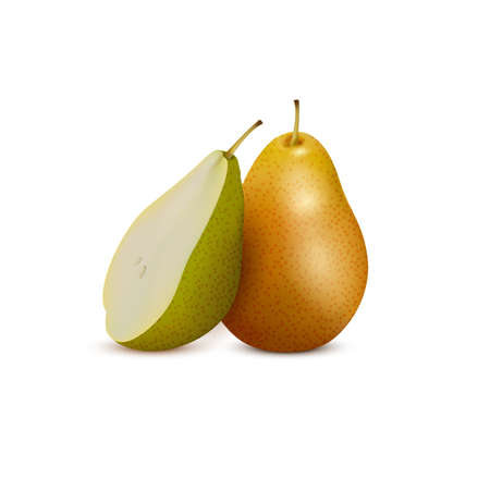 Fresh pear and slice,3d vector icon. Sweet fruit realistic vector illustration Illustration