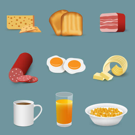 Morning fresh food and drinks symbols, breakfast icons. Vector set with coffee cup, fruit juice isolated Illustration
