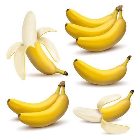 Satz realistische Bananen des Vektors 3d. Banane, halb abgezogene Banane, Bündel Bananen lokalisiert auf weißem Hintergrund, Bananenikone Standard-Bild - 83558161