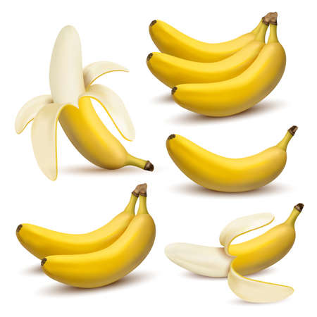 Set of 3d vector realistic illustration bananas. Banana,half peeled banana,bunch of bananas isolated on white background, banana icon Ilustração