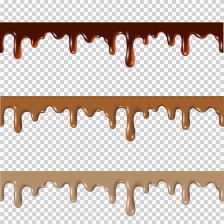 녹은 초콜렛, 땅콩 버터, 캐 러 멜 원활한 테두리의 집합입니다. 벡터 3d 현실적인 요소