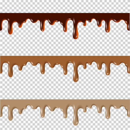 Set of melted chocolate,peanut butter,caramel seamless borders. Vector 3d realistic elements