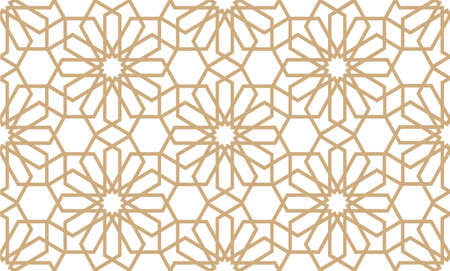Geometrical seamless pattern in Arabian style. Vector background. Islamic gold and white texture,graphic arabic pattern