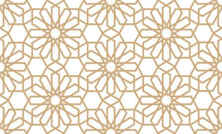 Modèle géométrique transparent en style arabe. Vector background. Texture islamique d'or et de blanc, motif graphique arabe