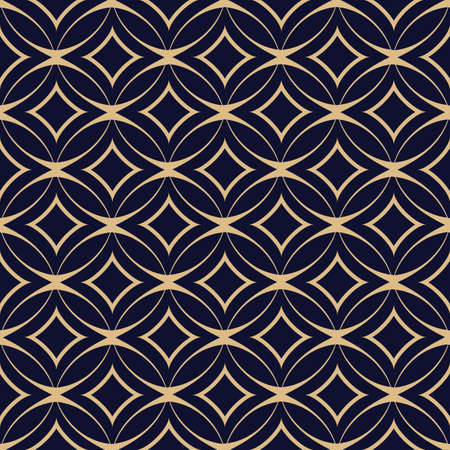 tile: Abstract geometric seamless pattern with intertwined circles. Vector background. Blue-black and gold texture