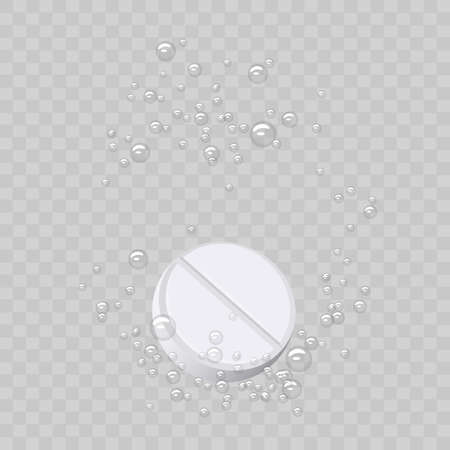 Effervescent tablet, pill with bubbles isolated on transparent.