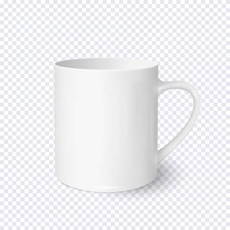 White coffee cup realistic isolated on transparent background. Vector template for Mock Up. Vector illustration.