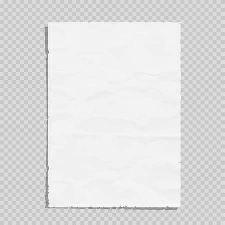 Empty white paper sheet crumpled. Realistic blank page on transparent illustration Vectores