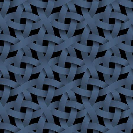 twist: Dark seamless pattern,weaving paper blue stripes. Vector background. Geometric wallpaper