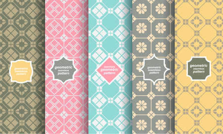 frame: Retro style of different seamless patterns Illustration