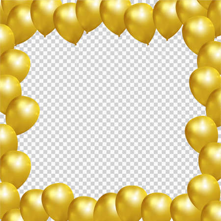 Festive frame with gold balloons on transparent background. Realistic balloons vector illustration for party, celebration design decoration. Editable elements with gradient mesh and clipping mask