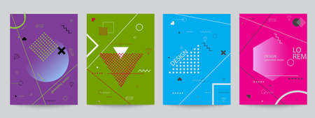 layout: Set of colored covers with geometric forms, minimal design. Abstract geometric vector objects. Modern Decoration shapes and figures for web, print, patterns,branding