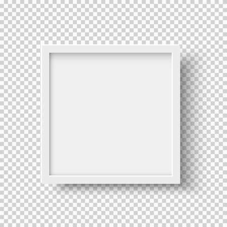 White realistic square empty picture frame on transparent background. Blank white picture frame mockup template isolated on neutral background. Vector illustration