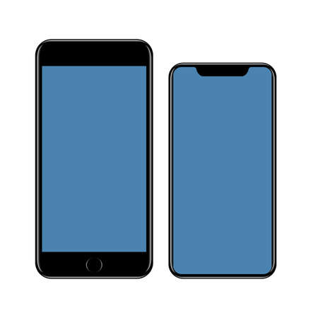 Mock-up smartphone, black cell phone with blue blank screen. Vector illustration of cell phone isolated.