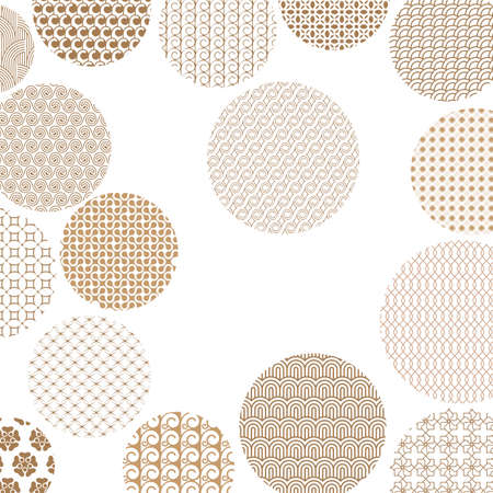 Golden circles with different geometric patterns. Gold abstract geometric shapes. Asian style ornaments on white background. Graphic design for cover,poster, card, template