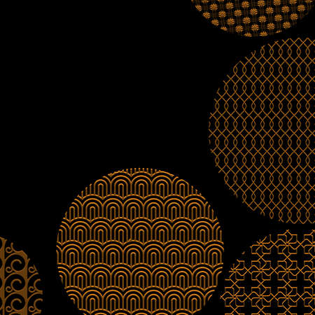 stripped: Gold circles with different patterns on black with clipping mask. Golden geometric abstract shapes. Asian style ornaments. Graphic design for cover,poster, card, template