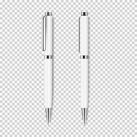 두 개의 흰색 투명 배경에 흰색 현실적인 펜입니다. 벡터 회사 Identity, 브랜딩 편지지 템플릿 집합입니다. 모형 디자인을위한 준비
