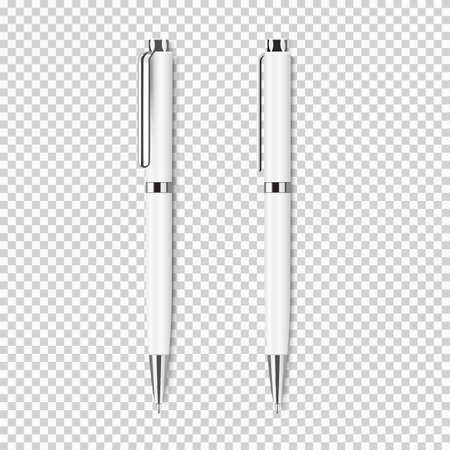 Two white realistic pen on transparent background.Vector set of corporate identity, branding stationery templates. Mockup ready for design