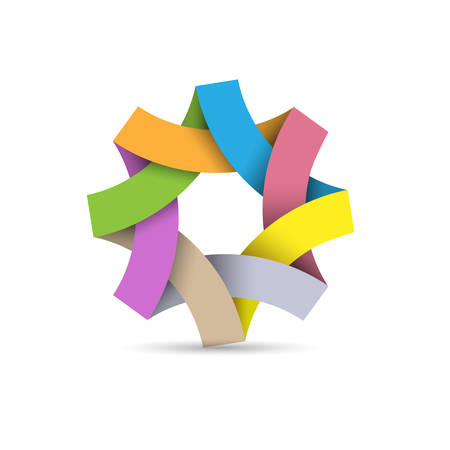 Abstract infinite loop, paper 3d origami. Colorful ribbon icon. Vector template for infographic consists
