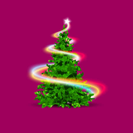 Christmas tree, lowpoly triangle with shiny light. Green Christmas tree symbol of Happy New Year, Merry Christmas holiday celebration. Bright shiny design. Vector illustartion