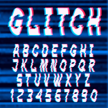 Glitch distorted font letters and numbers. Vector set with broken pixel effect,old distorted TV matrix effect. Video game alphabet in retro style. Illustration