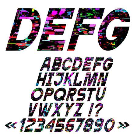 Slanting bright alphabet letters, glitch art style,vector set. Retro vintage font for design. Matrix and pixel effect