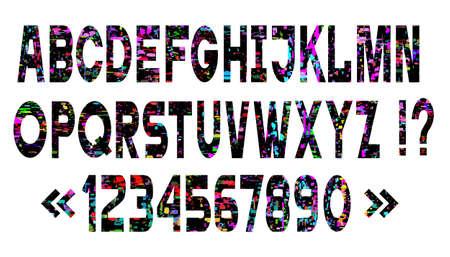 Vector set of bright alphabet letters, glitch art style. Retro vintage font for design party style. Ilustração