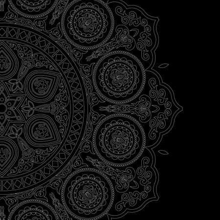 Delicate white mandala pattern in boho style on black background. Vector ethnic design element  Ilustração