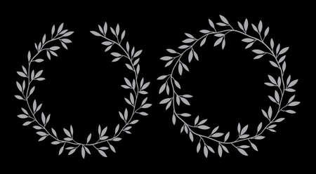 Silhouettes round vintage floral frames, laurel wreaths,vector set. Decorative floral elements. Hand drawn nature style design